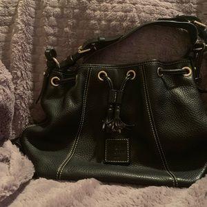 Black D&B drawstring slouch handbag